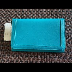 New NEIMAN MARCUS Teal Wallet Cell HOLDER SAFFIANO